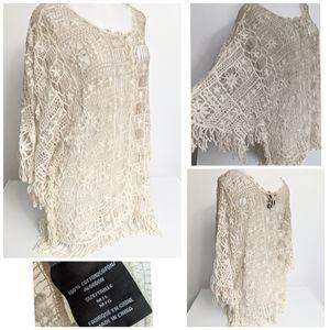 NWOT Boho Ombre Crochet Lace Sleeve Top Sz M To L